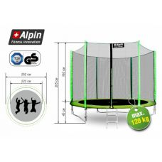 Батут Alpin 2.52 м с защитной сеткой и лестницей