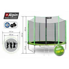 Батут Alpin 3.12 м с защитной сеткой и лестницей