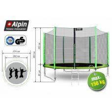 Батут Alpin 3.74 м с защитной сеткой и лестницей