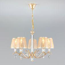 Классическая люстра с абажурами Eurosvet 60103/5 перламутровое золото
