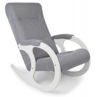 Кресло-качалка Бастион 3 (серое Мемори 15) белые ноги